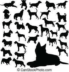 silhouettes, vecteur, chiens