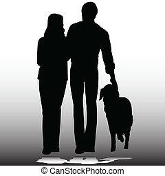 silhouettes, vecteur, couple, chien