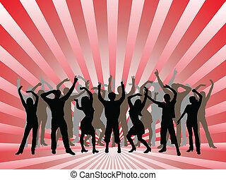 silhouettes, vecteur, -, danse, gens