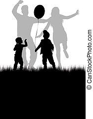 silhouettes., vecteur, danse, work., gens