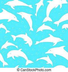 silhouettes, vecteur, dauphins