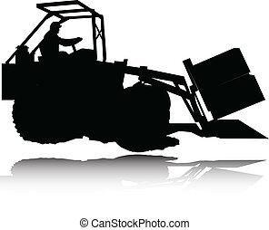 silhouettes, vecteur, dredge
