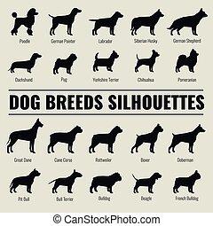 silhouettes, vecteur, ensemble, chien, espèces