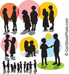 silhouettes, vecteur, ensemble, childre