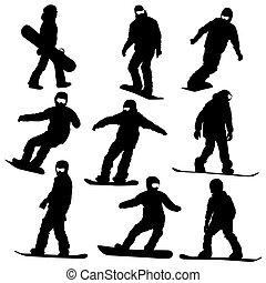 silhouettes., vecteur, ensemble, snowboarders, illustration.