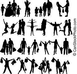 silhouettes, vecteur, famille, heureux