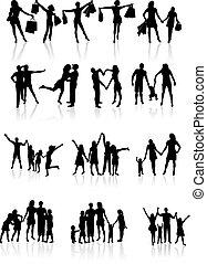 silhouettes, vecteur, famille, illustration