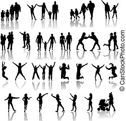 silhouettes, vecteur, famille