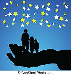 silhouettes, vecteur, famille, main