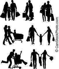 silhouettes, vecteur, famille, shopping.