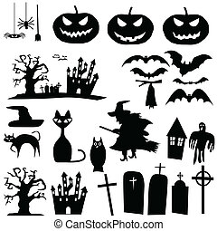 silhouettes, vecteur, halloween
