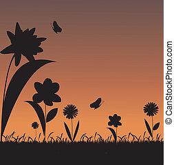 silhouettes, vecteur, herbe, fond