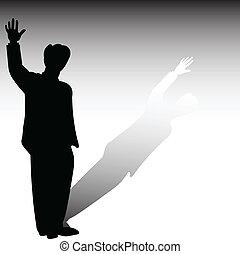 silhouettes, vecteur, homme, séjour