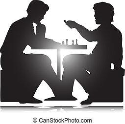 silhouettes, vecteur, jeu, homme, échecs