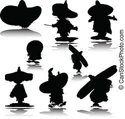 silhouettes, vecteur, mexicain, homme