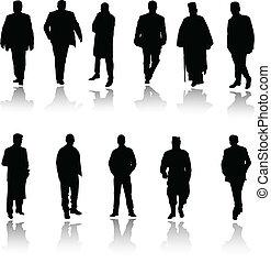 silhouettes, vecteur, noir