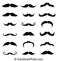 silhouettes, vecteur, noir, moustache