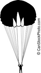 silhouettes, vecteur, parachutage, illustration., skydiver