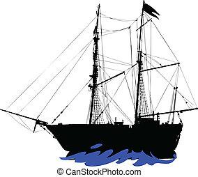 silhouettes, vecteur, pirates, bateau