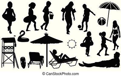 silhouettes, vecteur, plage, gens