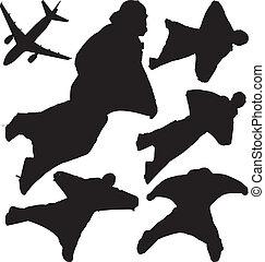 silhouettes, vecteur, skydivers