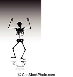 silhouettes, vecteur, squelette, homme