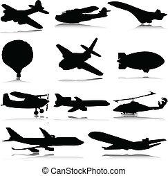 silhouettes, vecteur, transport, air