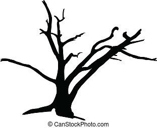 silhouettes, vecteur, tree3