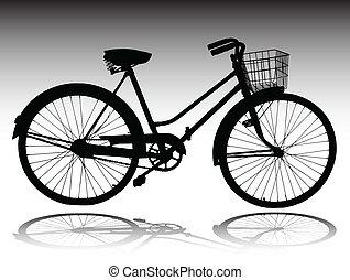 silhouettes, vecteur, vélo