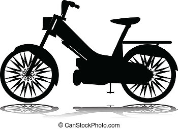 silhouettes, vecteur, vélomoteur