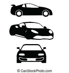 silhouettes, vecteur, voitures
