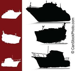 silhouettes, vecteur, yacht, bateau