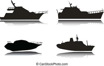 silhouettes, vecteur, yachts