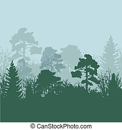 silhouettes, vector, boompje, illustratie