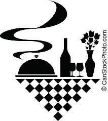 silhouettes, vector, catering