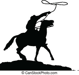 silhouettes, vector, cowboy