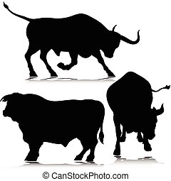 silhouettes, vector, drie, stier