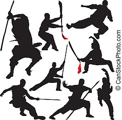 silhouettes, vector, fu, shaolin, kung