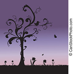 silhouettes, vector, gras, achtergrond