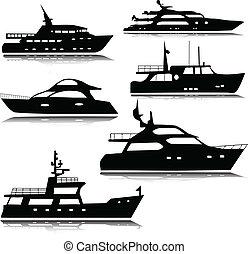 silhouettes, vector, jachtboten