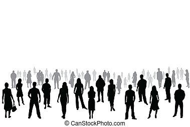 silhouettes, vector, -, mensenmassa