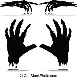 silhouettes, vector, monster, hand