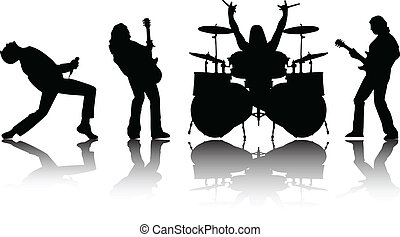 silhouettes, vector, musicans, set
