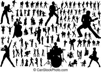silhouettes, vector, muziek