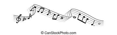 silhouettes., vector, notas, musical, ilustración, música, composición, ondas, líneas, remolino
