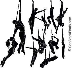 silhouettes vector set aerialists isolated on white background
