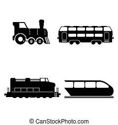 silhouettes, vector, set, vrijstaand, treinen