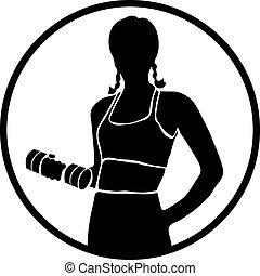 silhouettes., vector, sportende, pictogram, vrouwen