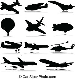 silhouettes, vector, vervoeren, lucht