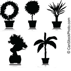 silhouettes, vector, vijf, bloem
